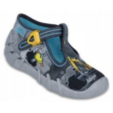 BEFADO 110P321, kapcie, sandałki, szare, żółta koparka