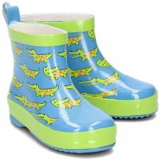 PLAYSHOES, kalosze dziecięce, 100% naturalny kauczuk, krótkie, niebiesko - zielone w krokodyle